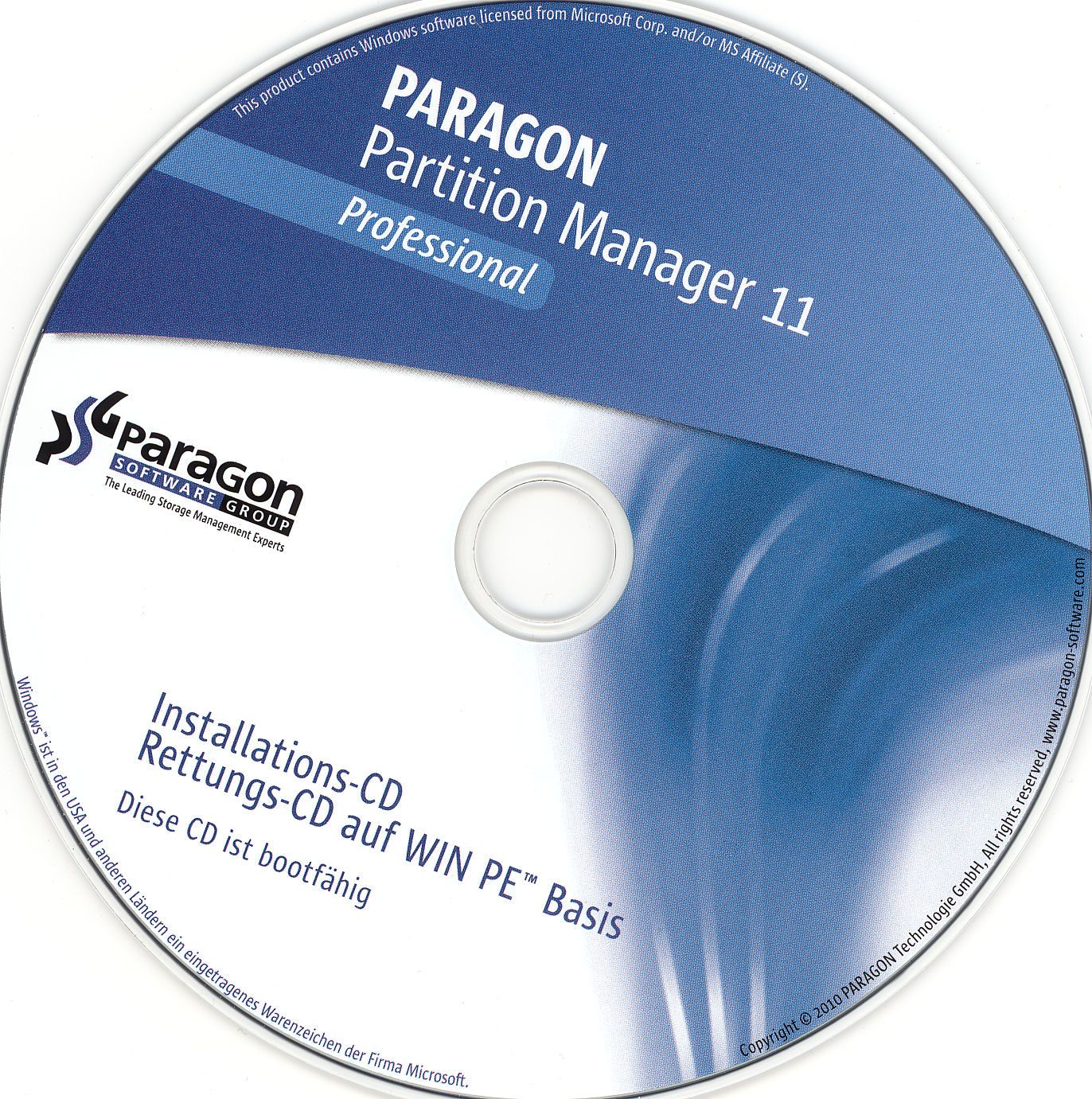 B Paragon Partition Manager 11 Professional (2010) - P - Каталог.